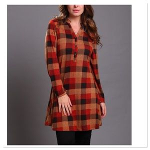 Rust & Mustard Checked Tunic